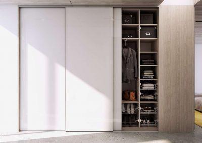 Tolóajtós előszoba beépített szekrény