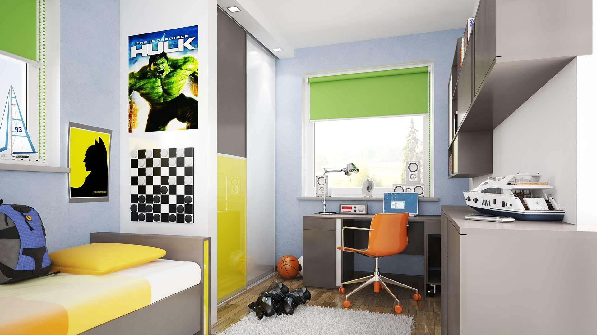 3 színű tolóajtóval szerelt gyerekszoba beépített szekrény