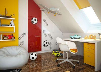Magasfényű bútorlappal készült nyílóajtós beépített szekrény a gyerekszobában