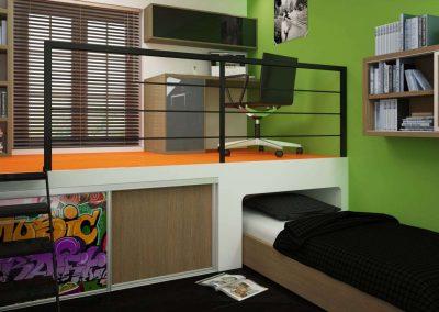 Galéria alatti tolóajtós beépített szekrény gyerekszobába
