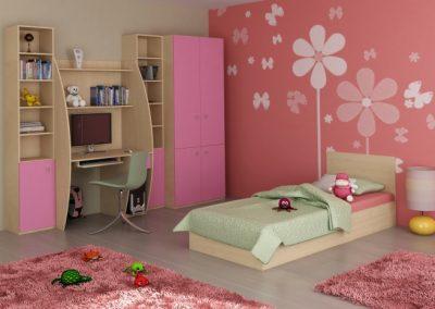 Juhar és rózsaszín bútorlapból készült íróasztalos beépített szekrény a gyerekszobában