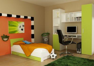 Pisztácia és fehér színű bútorlappal szerelt íróasztalos szekrény gyerekszobában