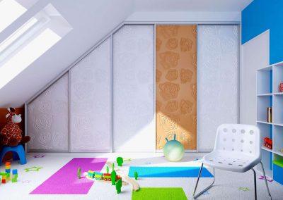 Egyedi fotófóliás gyerekszoba beépített szekrény tetőtérben