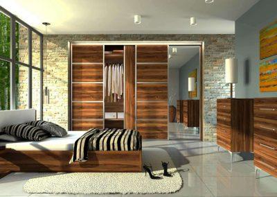 Hálószobai beépített szekrény osztott tolóajtóval fa mintázatú bútorlappal és tükörrel