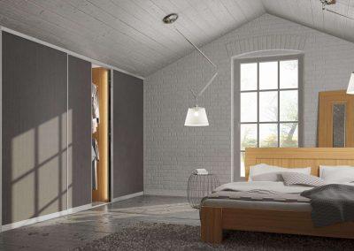 Beépített gardróbszekrény tetőtérben tolóajtóval antracit bútorlappal