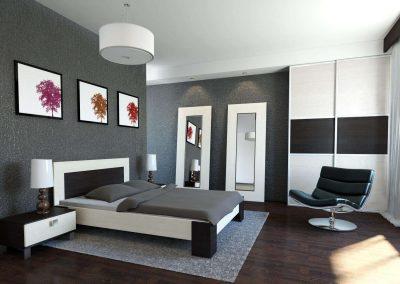 Hálószobai gardróbszekrény fekete és világos tolóajtó betéttel