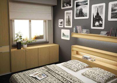 Hálószobai gardróbszekrény tolóajtóval ablak alatti kiegészítő szekrénnyel