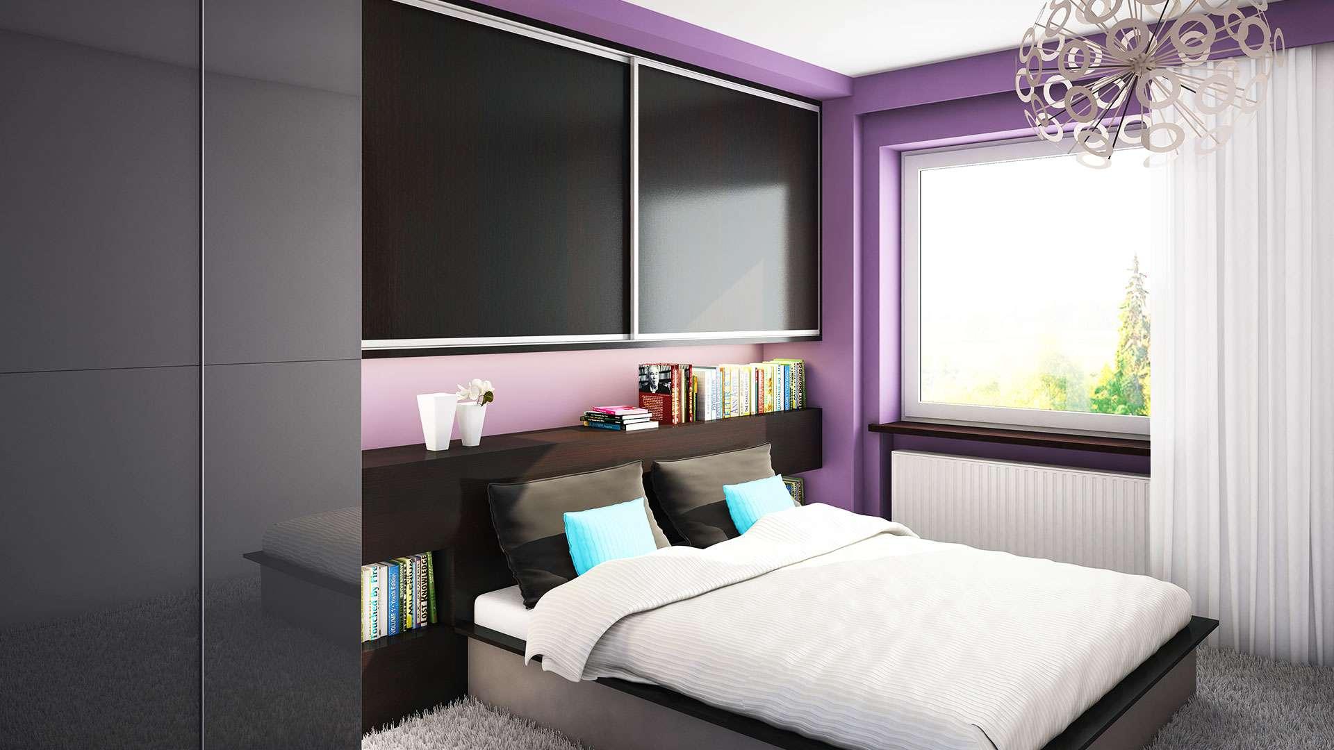 Ágy feletti beépített szekrény hálószobába bútorlapos tolóajtóval