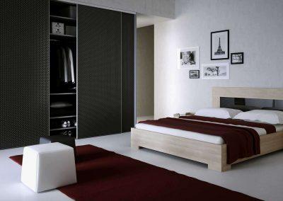 Hálószobai beépített szekrény egyedi bútorlap betéttel