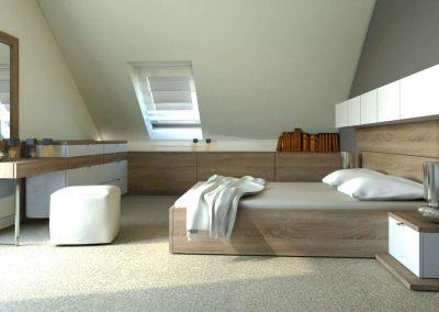 tetősík alatti gardróbszekrény kiegészítő bútorokkal