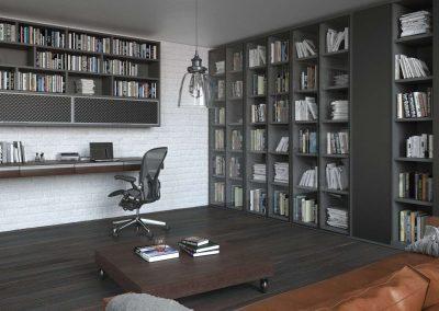 Galéria alatti polcos beépített szekrények az irodában