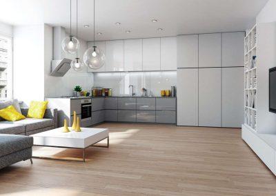 Hófehér beépített szekrény az amerikai stílusú konyhában
