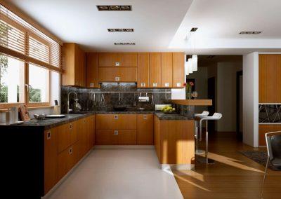 Amerikai stílusú konyha és nappali beépített szekrény