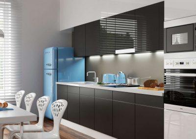 Antracit és fehér színű bútorlapok a konyha beépített szekrénnyel