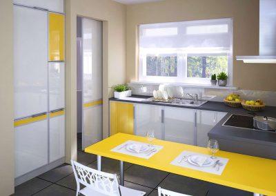 Térelválasztó tolóajtó és üvegbetétes konyhai beépített szekrény