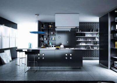 Fekete színű konyhai beépített szekrények