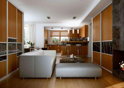 Nappali beépített szekrények osztott tolóajtókkal, színezett üveggel és fa hatású bútorlappal