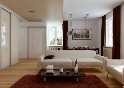 Beépített szekrény nappaliba festett üveg ajtóbetéttel