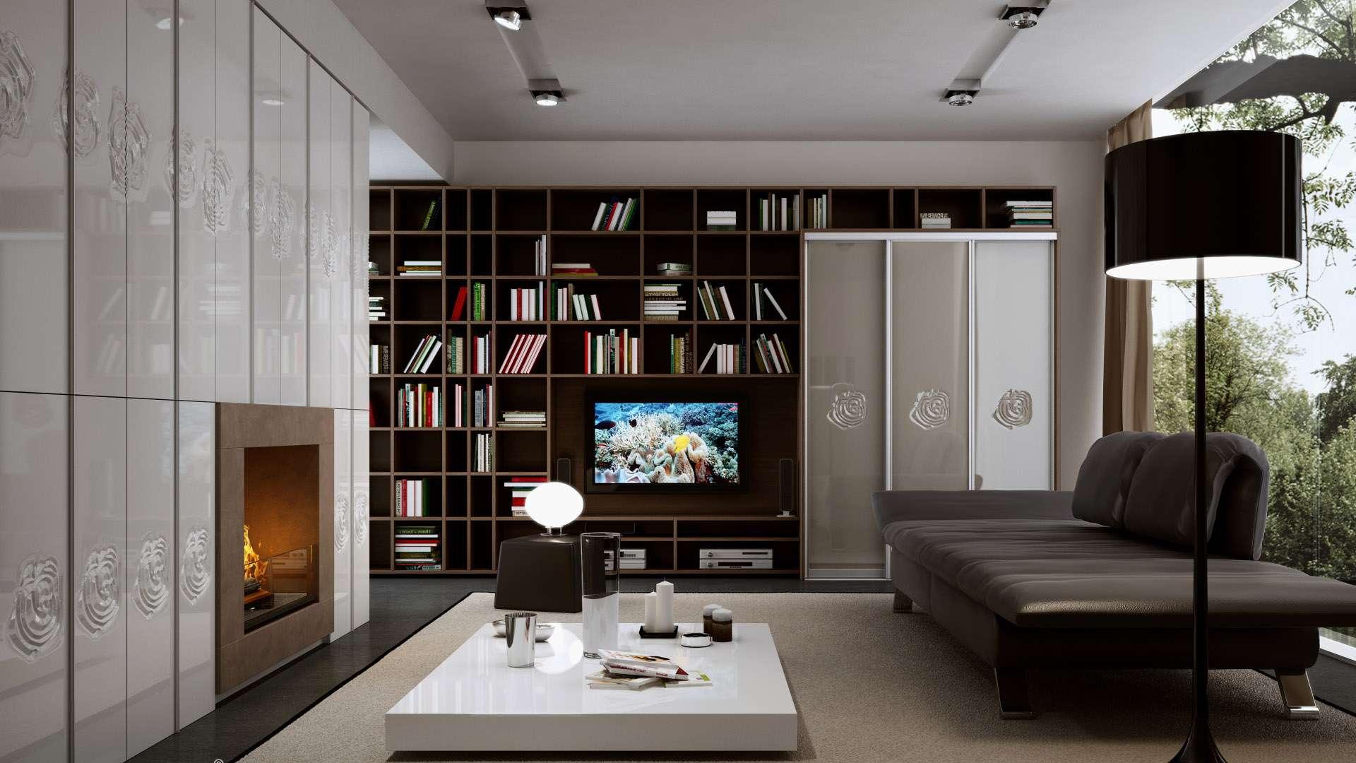 Tolóajtós beépített szekrény és nyitott könyvespolc rendszer a nappaliban
