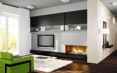 Modern nappali egy tömbházban