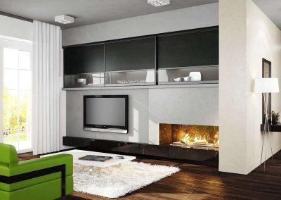 Tv feletti tolóajtós falra szerelt beépített szekrény nappaliba