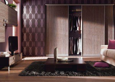 Nappali gardróbszekrény fa hatású bútorlappal és tolóajtóval
