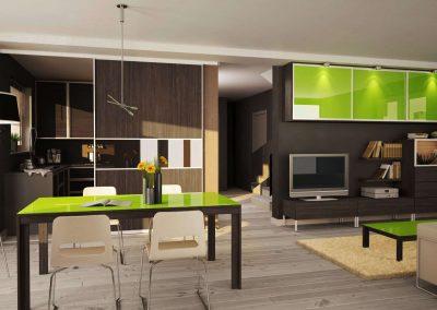 Különleges térelválasztó megoldás a nappaliban és a konyhában