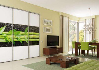 Bambuszmintás fotófóliával szerelt nappali beépített szekrény