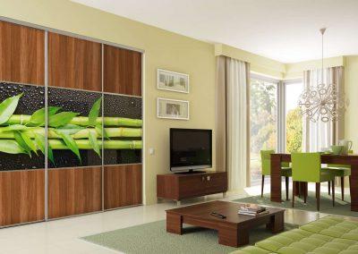 Bambusz mintás fotófólióval díszített beépített szekrény