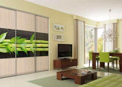 Bambusz mintás fotófólióval díszített gardróbszekrény