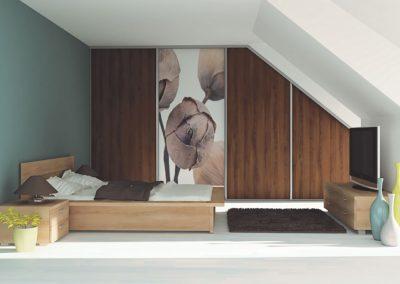 Tetőtéri gardróbszekrény fotófóliával és bútorlappal