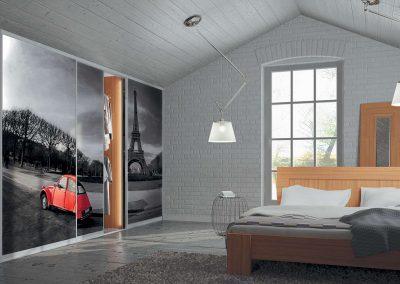 Hálószoba gardróbszekrény fotófóliával