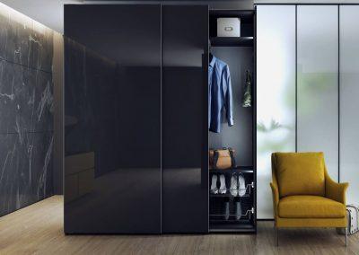 Sötét színű modern elegáns gardó szekrény folyosóra