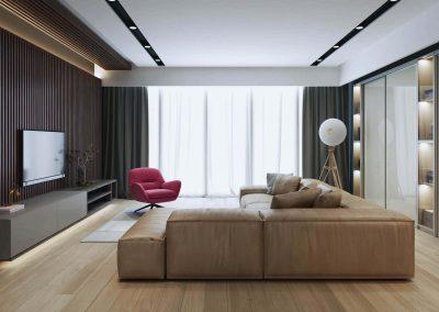 A nappali klasszikus változata üvegfelületű tolóajtós szekrénnyel-min