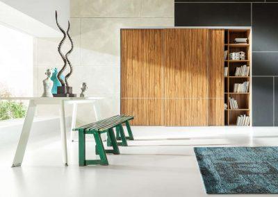 Minimalista, vintage stílusú nappali beépített szekrénnyel-min