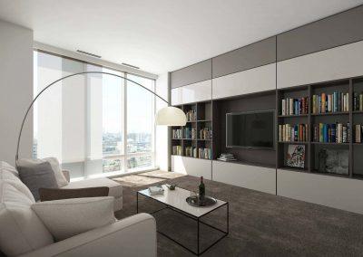 Modern nappali beépített szekrényekkel és TV zónával