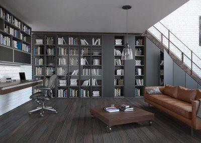 Nappali szoba külön irodaterülettel és modern könyvtárral-min