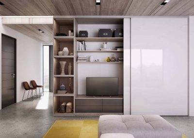 Világos árnyalatú nappali elrendezése egyedi beépített szekrénnyel, amely elrejti a műszaki felszereléseket-min