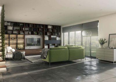 Modern nappali elrendezése egy könyvespolc és egy üveges vitrin segítségével