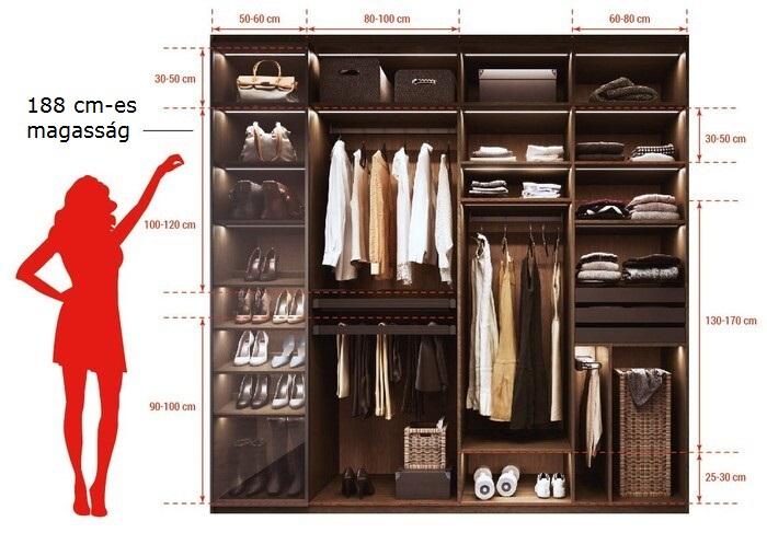Női szekrény belső méretei