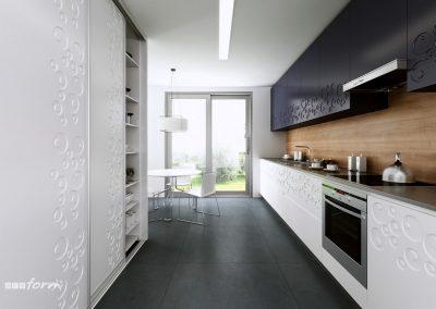 Klasszikus két színű konyhabútor fehér és fekete színben