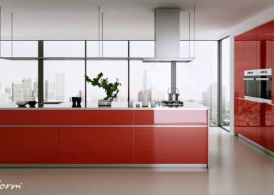 Piros konyhabútor intenzív szinekkel