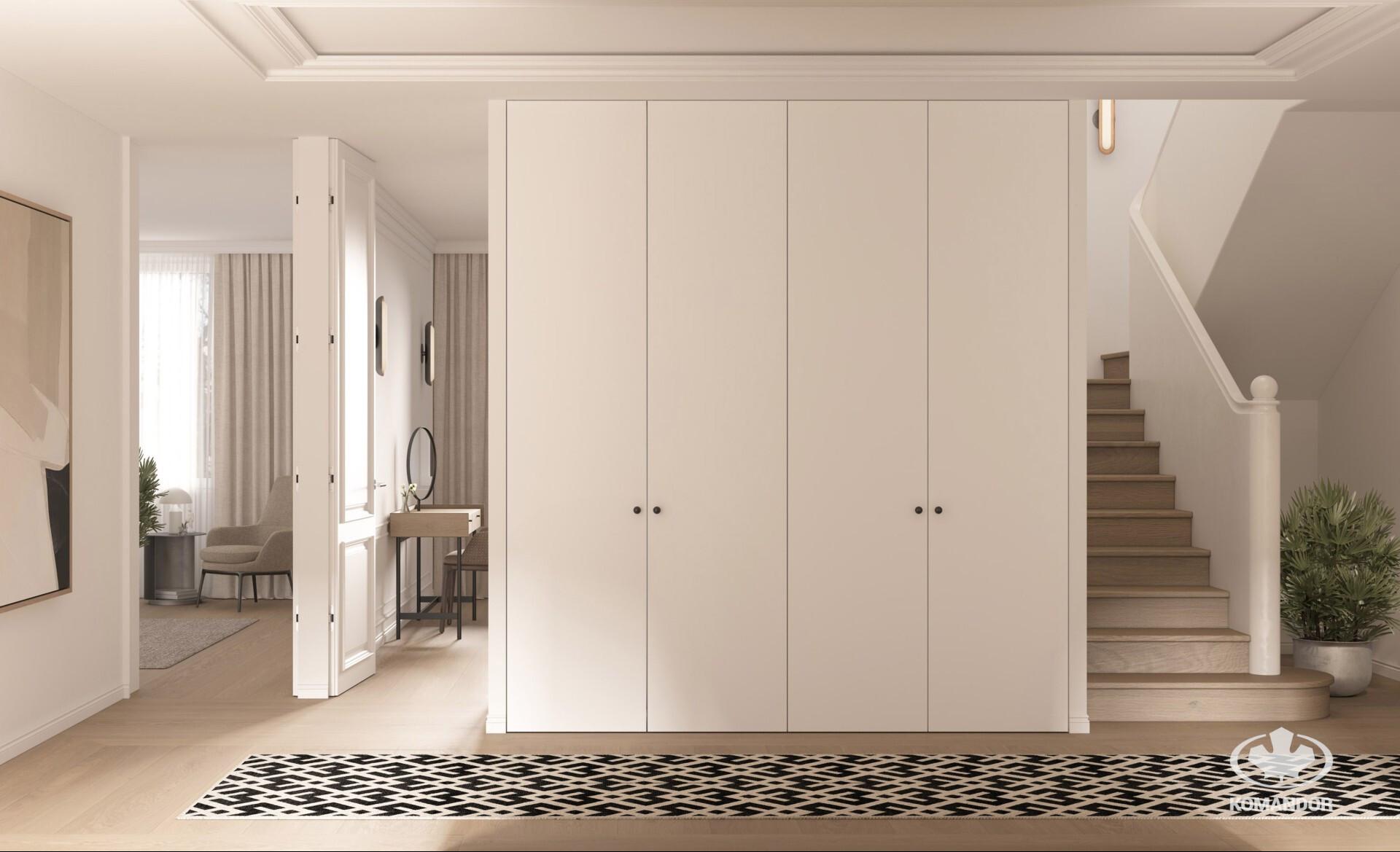 Egyszerű kialakítású, törtfehér színű nyílóajtós beépített szekrény