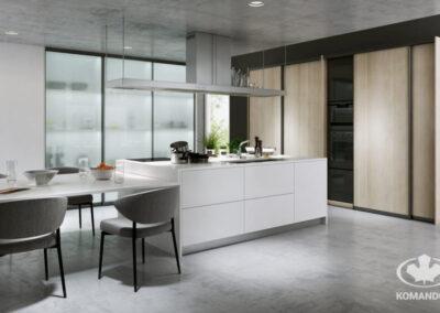 Konyhai sziget munkalapként, klasszikus asztallal kombinálva modern konyhában