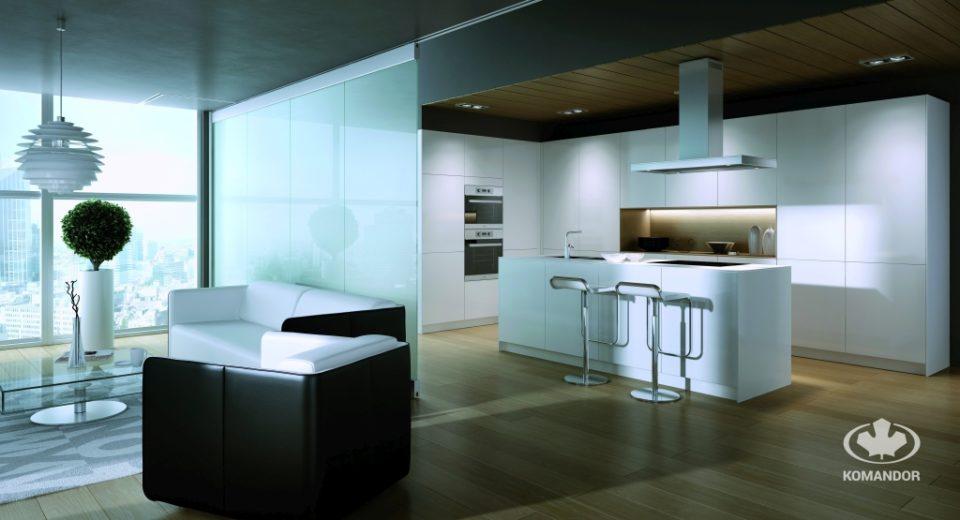 Modern konyha, amelyben a munkaterület és a mosdóhelyek egy szigeten találhatók