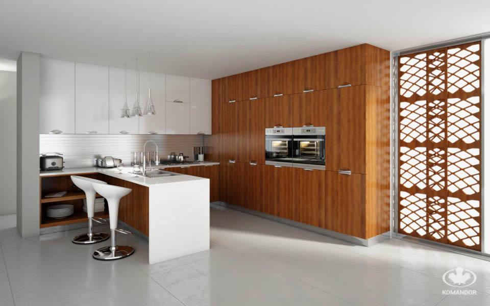 Modern konyha sziget eredeti kapcsolatának alsó szekrényekkel való összekapcsolása