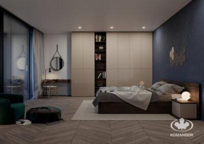 sötét hálószoba bézs és üveges beépített szekrény