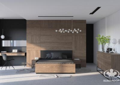 sötét hálószoba bútor egység fa hatású bútorlappal