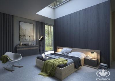 sötét hálószoba fa hatású beépített szekrénnyel