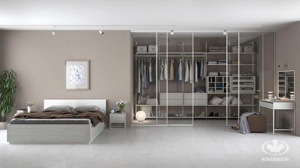 világos hálószoba üveges beépített szekrénnyel